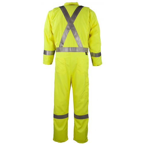 Big Bill FR Class 3 X-Back Hi Vis Yellow Tecasafe Unlined Coverall 1328TY7 Back