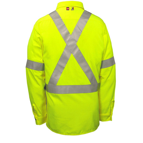 Big Bill FR Class 2 Hi Vis X-Back Dress Shirt 148BDTY7 Yellow Back