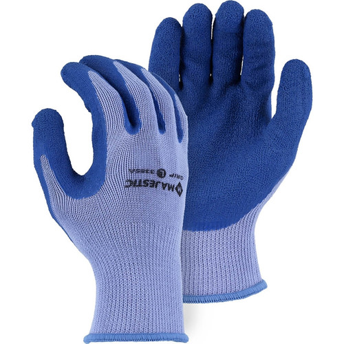 Majestic Box of 12 Pair Blue M-Safe Crinkle Palm Knit Gloves 3385A