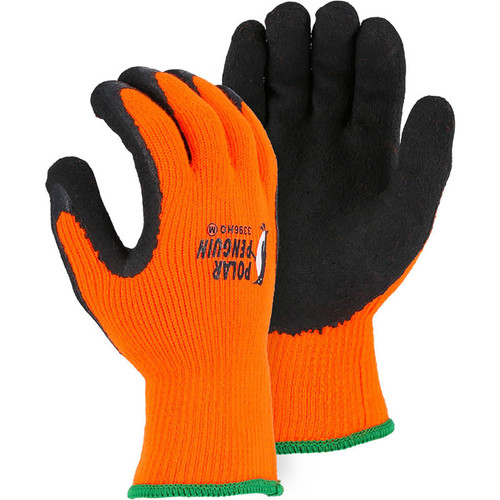 Majestic Box of 12 Pair Orange Polar Penguin Winter Lined Terry Glove Latex Palm 3396HO