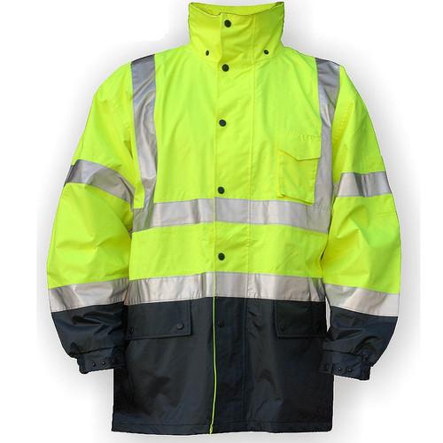 Majestic Class 3 Hi Vis Yellow Black Bottom Rain Jacket 75-1305