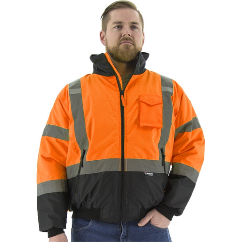 Majestic Class 3 Hi Vis Orange Black Bottom Quilted Bomber Jacket 75-1314