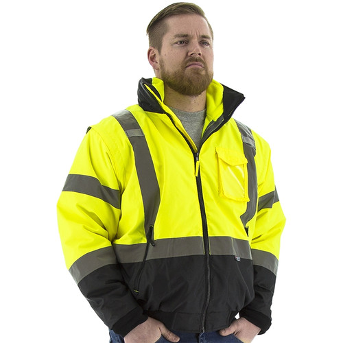 Majestic Class 3 Hi Vis Yellow Black Bottom 8-in-1 Bomber Jacket 75-1383 Front