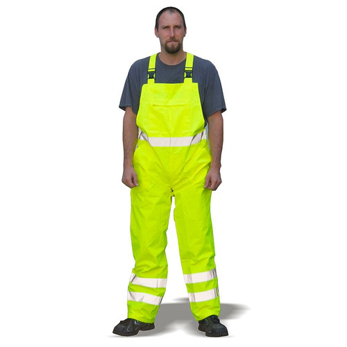 Majestic Class E Hi Vis Yellow Bib Rain Pants With Reflective 75-2353