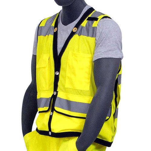 Majestic Class 2 Hi Vis Yellow Heavy Duty Mesh Safety Vest 75-3207
