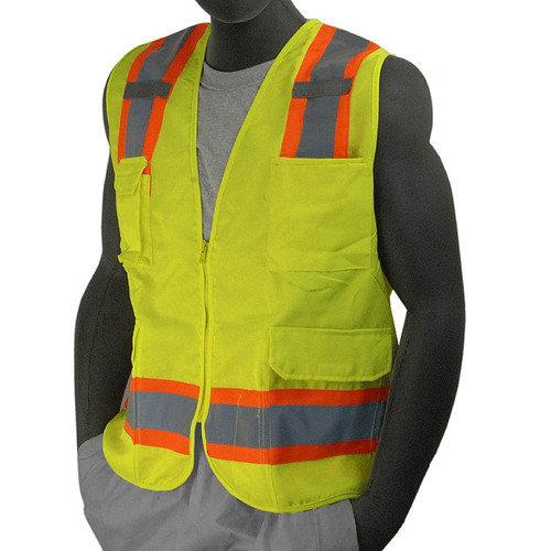 Majestic Class 2 Hi Vis Yellow 7 Pocket Surveyors Vest 75-3221