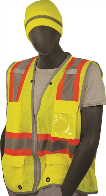 Majestic Class 2 Hi Vis Yellow Safety Vest with ID Badge 75-3225