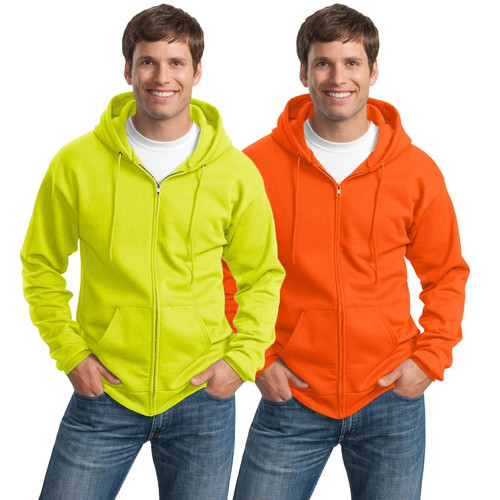 Port and Company Enhanced Visibility Hooded Zip Up Sweatshirt PC90ZH
