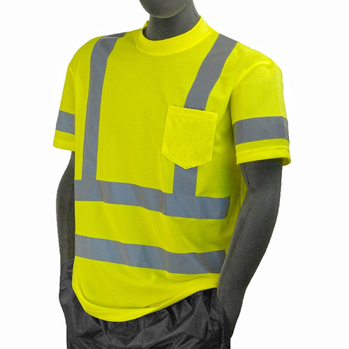 Majestic Class 3 Hi Vis Yellow T Shirt with Chest Pocket 75-5305