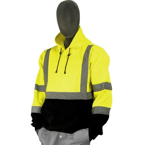 Majestic Class 3 Hi Vis Yellow Black Bottom Pullover Sweatshirt 75-5327