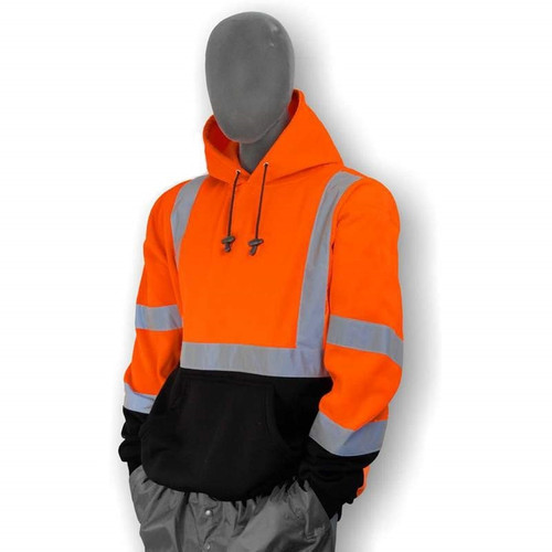 Majestic Class 3 Hi Vis Orange Black Bottom Pullover Sweatshirt 75-5328