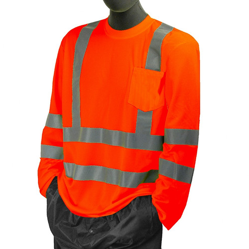 Majestic Class 3 Hi Vis Orange Long Sleeve T Shirt with Chest Pocket 75-5356