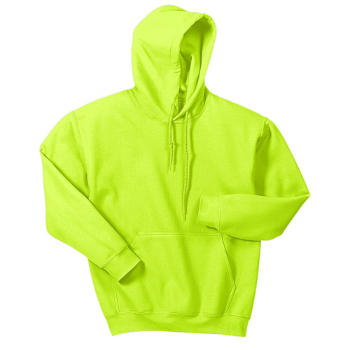 Gildan Enhanced Visibility Heavy Blend Pullover Hooded Sweatshirt 18500 Safety Green Front