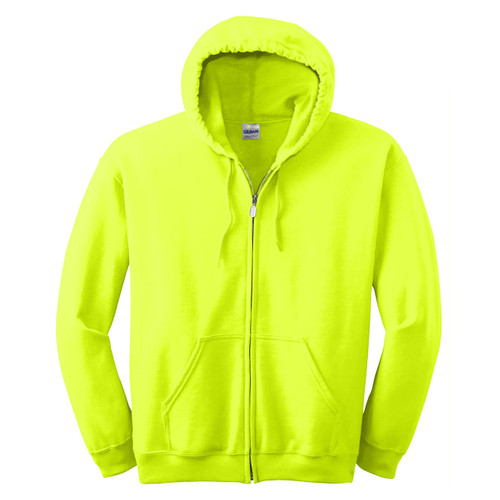Gildan Enhanced Visibility Full-Zip Hooded Sweatshirt 18600 Safety Green Front