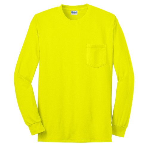 Gildan Enhanced Visibility Ultra Cotton Long Sleeve T-Shirt with Pocket 2410 Safety Green/Front