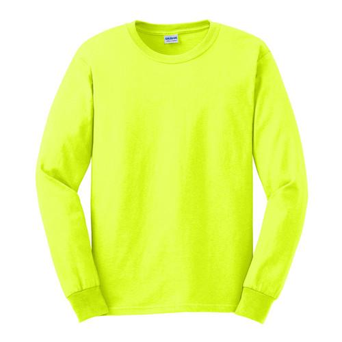 Gildan Hi Vis Ultra Cotton Long Sleeve T-Shirt G2400 Safety Green/Front