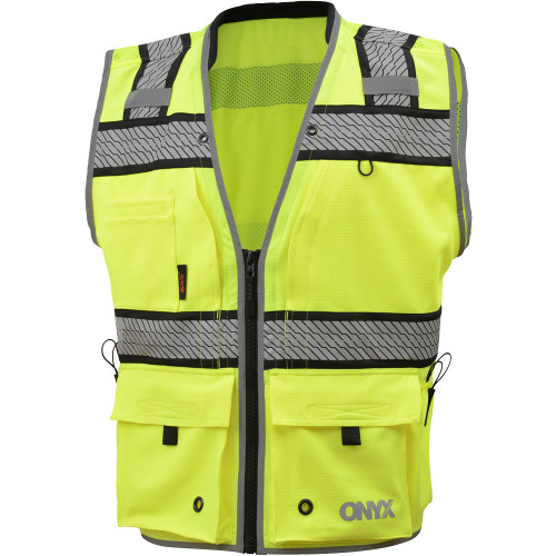 GSS Class 2 Hi Vis Lime Surveyors Vest with Segment Tape 1511