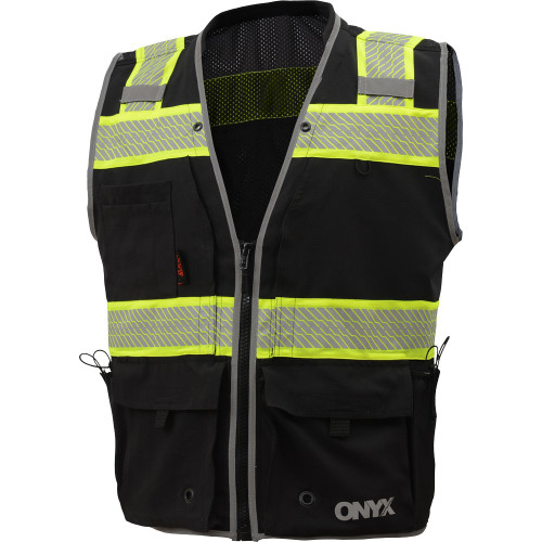 GSS Enhanced Visibility Black Premium ONYX Surveyors Vest with Segmented Tape 1513 Front