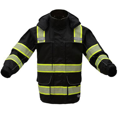 GSS Enhanced Visibility Black Premium ONYX Raincoat with Segmented Tape and Teflon Protector 6503 Front