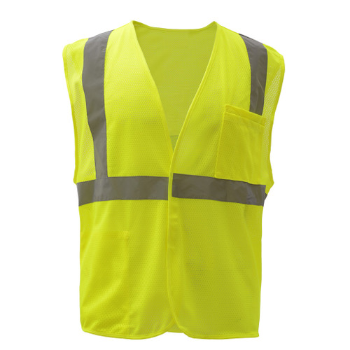 GSS Class 2 Hi Vis Lime Economy Mesh Hook and Loop Vest 1003 Front