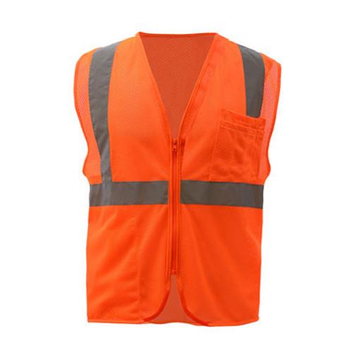 GSS Class 2 Hi Vis Orange Mesh Vest with Zipper 1002