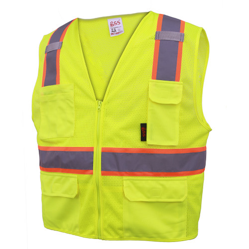 GSS Class 2 Hi Vis Lime Mesh 2 Tone Vest with 6 Pockets 1501