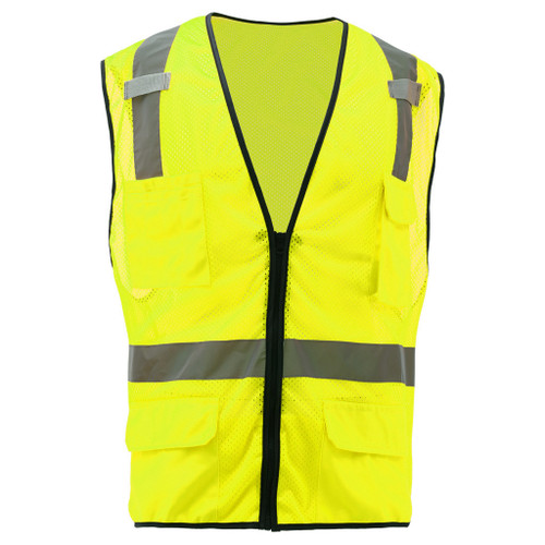 GSS Class 2 Hi Vis Lime Mesh Vest with 6 Pockets 1505