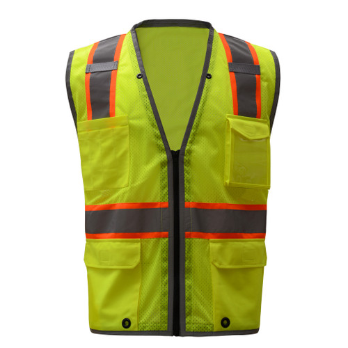 GSS Class 2 Hi Vis Lime Mesh Vest with 2 Tone Trim and iPad Pockets 1701
