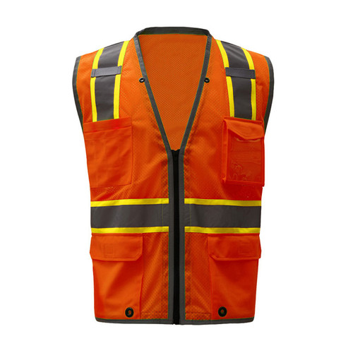 0682680505b GSS Class 2 Hi Vis Orange Mesh Vest with 2 Tone Trim and iPad Pockets 1702