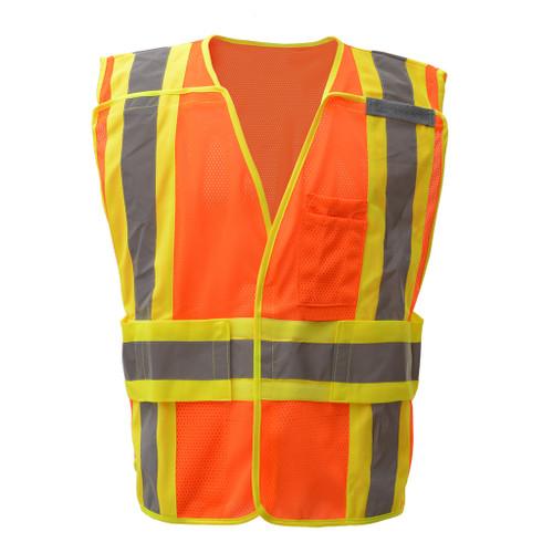 GSS Class 2 Hi Vis Orange Adjustable Vest with 2 Tone Trim 1804 Front