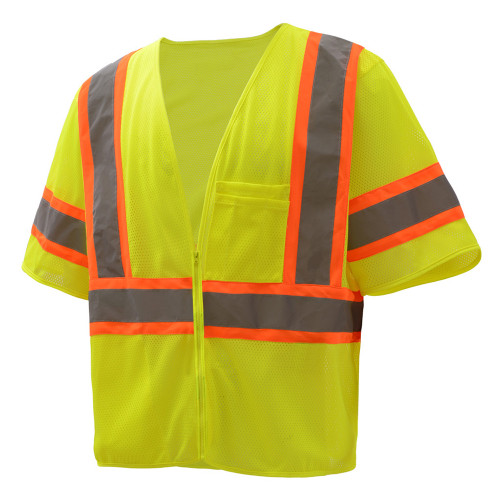 GSS Class 3 Hi Vis Lime Economy Vest with 2 Tone Trim 2005