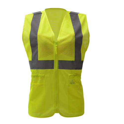 GSS Class 2 Hi Vis Lime Mesh Adjustable Ladies Vest 7803 Front
