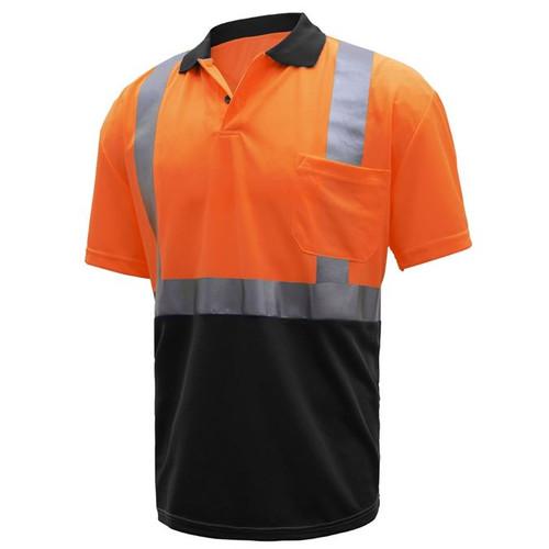GSS Class 2 Hi Vis Orange Polo Shirt with Black Bottom and Collar 5004