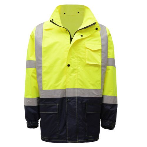 GSS Class 3 Hi Vis Lime Raincoat with Black Bottom 6003 Front