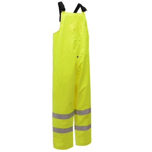 GSS Class E Hi Vis Lime Bib Rain Pants 6807 Right Side
