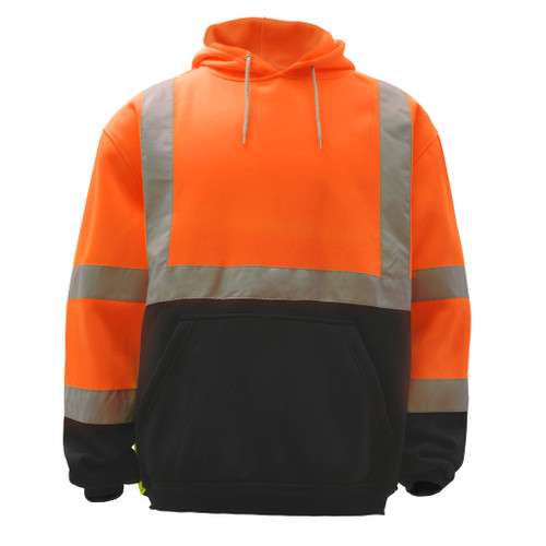 GSS Class 3 Hi Vis Orange Fleece Hooded Black Bottom Sweatshirt 7002 Front