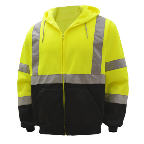 GSS Class 3 Hi Vis Lime Fleece Hooded Sweatshirt with Zipper and Black Bottom 7003 Right Side