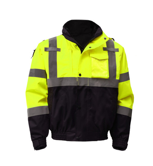 GSS Class 3 Hi Vis Lime 3-in-1 Jacket with Ripstop Bottom 8003 Front