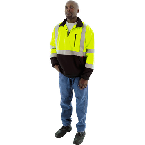 Majestic Hi Vis Class 3 Black Bottom Yellow Pullover Sweatshirt with Zip 75-5335