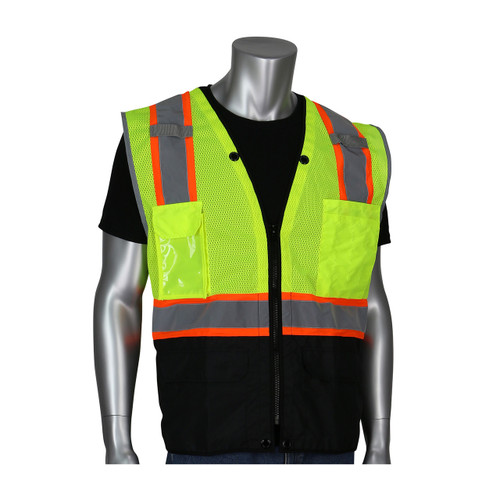 PIP Class 2 Hi Vis Yellow Vest with Ripstop Black Bottom 302-0650D