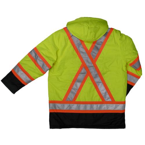 Work King Safety Class 3 Hi Vis X-Back Black Bottom Trim Parka S176 Fluorescent Green Back