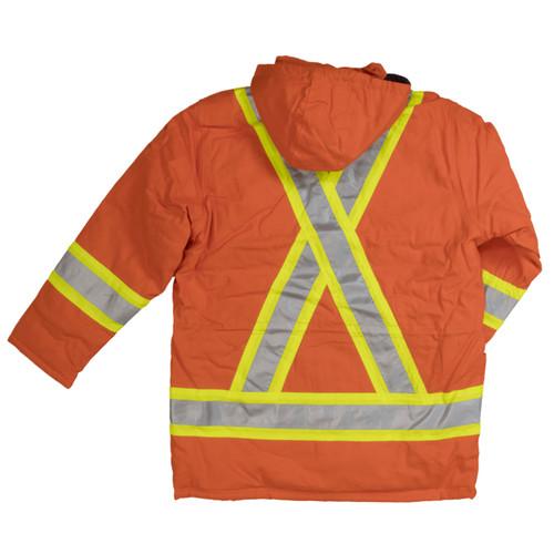 Work King Safety Class 1 Hi Vis Two-Tone X-Back Orange Cotton Duck Parka S157 Back