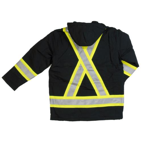 Work King Safety Class 1 Hi Vis Two-Tone X-Back Black Cotton Duck Parka S157-BLK Back