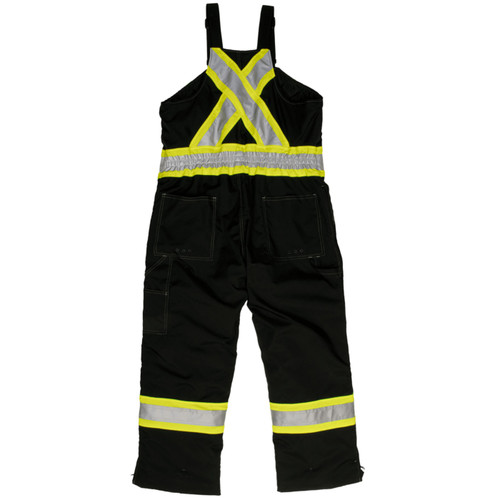 Work King Safety Type E Enhanced Vis Two-Tone X-Back Black Waterproof Insulated Overalls S876-BLK Back