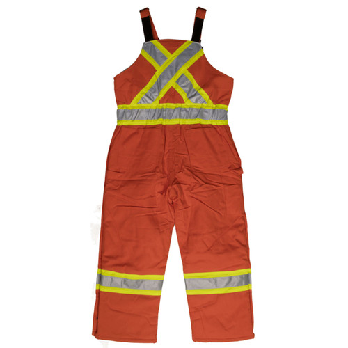 Work King Safety Class 1 Hi Vis X-Back Two-Tone Orange Cotton Duck Lined Overalls S757 Back