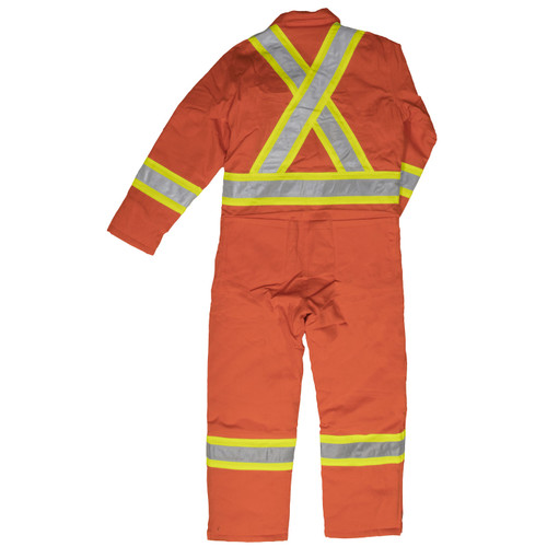 Work King Safety Class 1 Enhanced Vis X-Back Two-Tone Orange Lined Coveralls S787 Back
