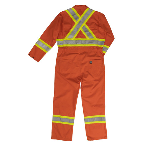 Work King Safety Non-ANSI Hi Vis X-Back Two-Tone Orange Coverall S792 Back
