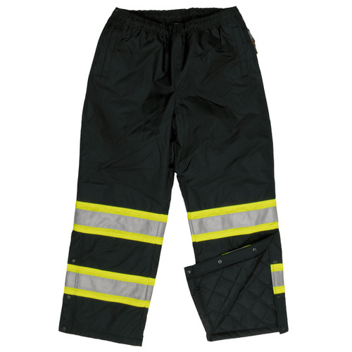Work King Safety Class E Enhanced Vis Black Lined Pants S614-BLK Front
