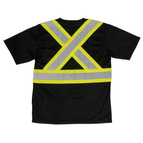Work King Safety Class 1 Enhanced Vis Black Two-Tone X-Back T-Shirt with Pocket S392-BLK Back