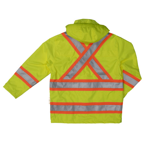 Work King Safety Class 3 Hi Vis Two-Tone X-Back Rain Jacket S372 Fluorescent Green Back